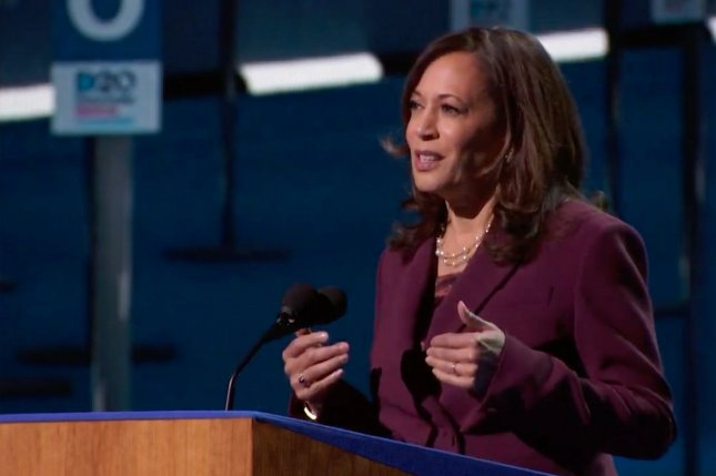 Democratic vice presidential candidate and California Sen. Kamala Harris accepts the party's nomination for vice president on August 19, the third night of the Democratic National Convention. UPI Photo