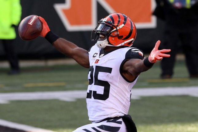 Former Cincinnati Bengals running back Giovani Bernard, shown on Nov. 1, 2020, celebrates a touchdown against the Tennessee Titans during the 2020 season. File Photo by John Sommers II/UPI