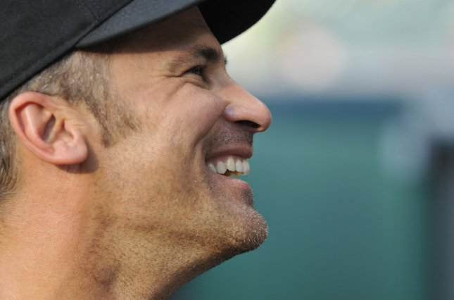 Chicago White Sox infielder Omar Vizquel smiles during batting practice before a baseball game against the Cleveland Indians at Progressive Field in Cleveland on August 31, 2010. UPI/David Richard