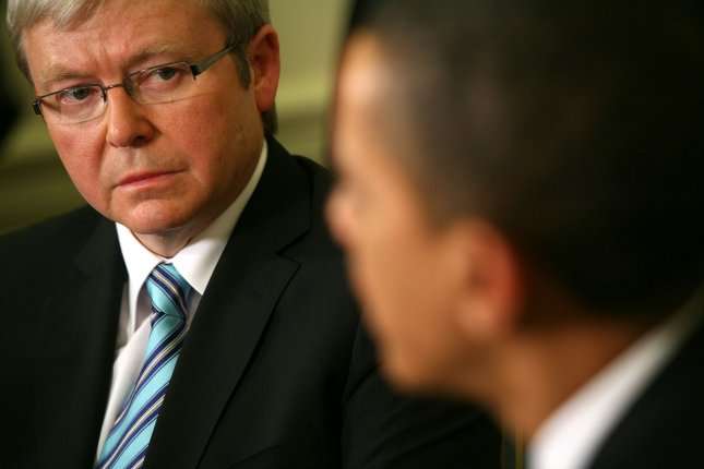 Then Prime Minister of Australia Kevin Rudd in the Oval office of the White House in Washington on March 24, 2009. (UPI PhotoGary Fabiano/Pool)