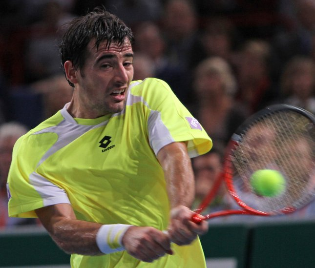 Ivan Dodig, shown in a match last November, advanced to the quarterfinals of the PBZ Zagreb Indoors with a win Thursday. UPI/David Silpa