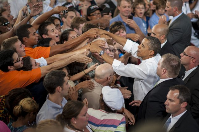 President Obama ended a two-day college tour with an event at the nTelos Wireless Pavilion on August 29, 2012 in Charlottesville, Virginia. The President talked about the choice for young voters in this election between two fundamentally different visions and the importance of registering to vote. UPI/Pete Marovich