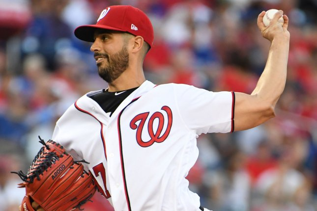 Washington Nationals starting pitcher Gio Gonzalez throws against the Chicago Cubs in the first inning of game 2 of the NLDS at Nationals Park in Washington, D.C. on October 7, 2017. File photo by Pat Benic/UPI