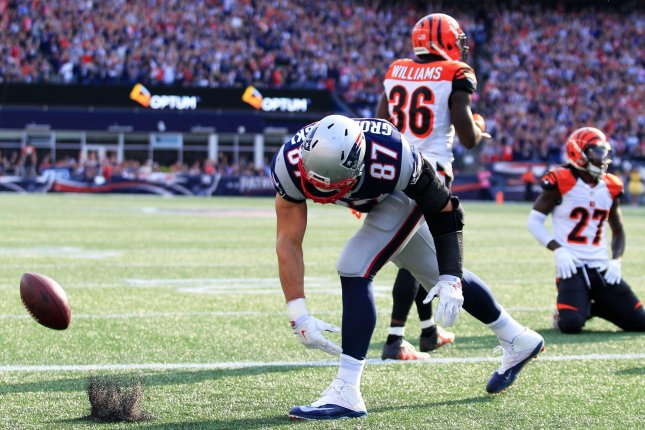 New England Patriots tight end Rob Gronkowski (87) spikes the ball after scoring on a four-yard touchdown reception against the Cincinnati Bengals last year. File Photo by Matthew Healey/ UPI