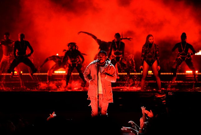 Kendrick Lamar and Beyonce perform onstage during the 16th annual BET Awards on June 26, 2016. On Monday, Lamar performed at the CFP National Championship in Atlanta. File Photo by Jim Ruymen/UPI