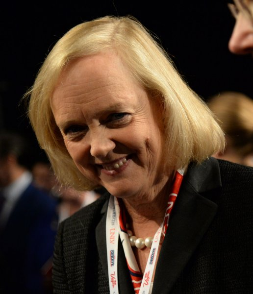 Meg Whitman attends the debate between Republican presidential candidate Donald Trump and Democratic presidential candidate Hillary Clinton at the University of Nevada, Las Vegas on October 19, 2016. On Wednesday, she announced she will soon be the CEO of NewTV, a media start-up founded by Jeffrey Katzenberg. File Photo by Kevin Dietsch/UPI
