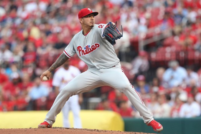 Philadelphia Phillies starting pitcher Vince Velasquez delivers a pitch to the St. Louis Cardinals in the third inning on May 17 at Busch Stadium in St. Louis. Photo by Bill Greenblatt/UPI