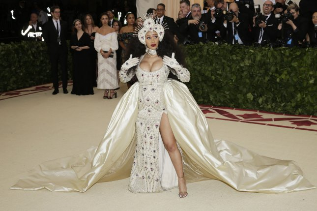 Cardi B, pictured here, has earned 10 MTV VMA nominations alongside Jay-Z and Beyonce who earned eight. File Photo by John Angelillo/UPI