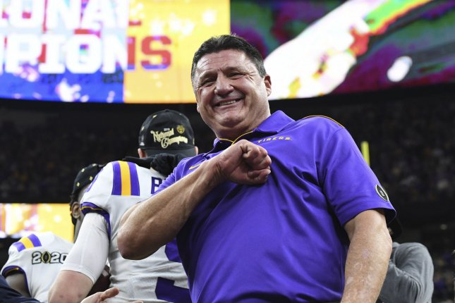 LSU head coach Ed Orgeron and the defending national champion Tigers are 3-5 this season. LSU won't play in a bowl game for the first time since 1999. File Photo by Pat Benic/UPI