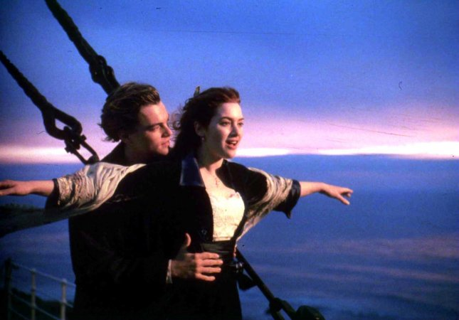 LAP98021005-10 FEBRUARY 1998-BEVERLY HILLS, CALIFORNIA, USA: Leonardo DeCaprio and Kate Winslet are pictured in a scene from Titanic which was nominated February 10 for a best picture Oscar for the 70th Academy Awards to be telecast live March 23 from the Shrine Auditorium in Los Angeles. Winslet was also nominated for best actress for her performance in the film. UPI jr/Jim Ruymen
