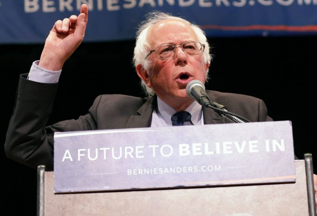 Democratic candidate for president Bernie Sanders speaks at a town hall meeting in New York City on June 23, 2016. His campaign requested donations in an email message Tuesday to help pay for his delegates' attendance at the Democratic National Convention in Philadelphia. Photo by John Angelillo/UPI