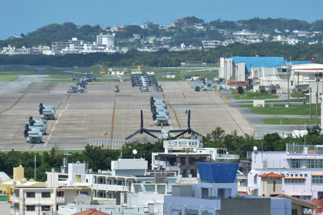 The relocation of U.S. Marine Corps Air Station Futenma in Ginowan, Okinawa, is included in Japan's 2017 defense budget. File Photo by Keizo Mori/UPI