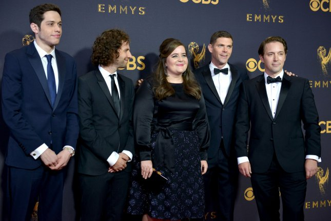 Saturday Night Live's' Aidy Bryant (C) with (L-R) Pete Davidson, Kyle Mooney, Mikey Day and Beck Bennett. Bryant will star in Hulu's Shrill from executive producer Elizabeth Banks. File Photo by Christine Chew/UPI