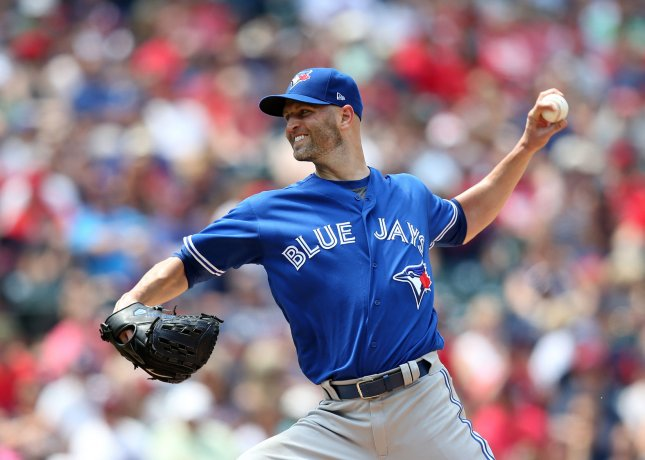 J.A. Happ and the Toronto Blue Jays face the Philadelphia Phillies on Sunday. Photo by Aaron Josefczyk/UPI