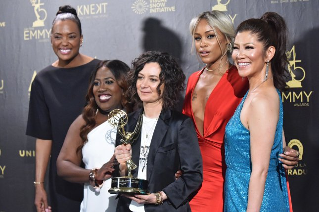 Sara Gilbert (C), pictured with Aisha Tyler, Sheryl Underwood, Eve and Julie Chen (left to right), explained her difficult decision to exit The Talk after Season 9. File Photo by Christine Chew/UPI