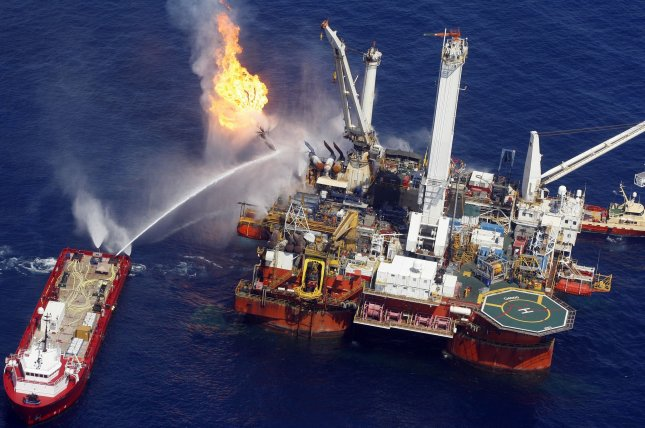 The Q4000 vessel burns off oil and gas in a huge flare at the BP Deepwater Horizon blowout site in the Gulf of Mexico on July 10, 2010. Photo by A.J. Sisco/UPI