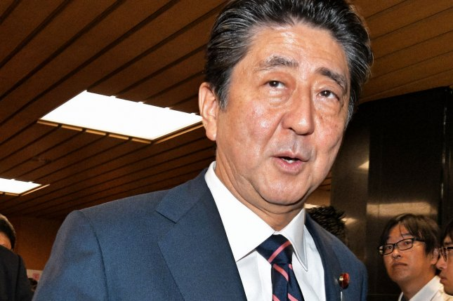 Japan's Prime Minister Shinzo Abe said Tuesday Japan should develop military planes domestically. File Photo by Keizo Mori/UPI