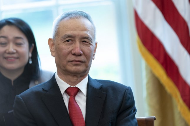 China's Vice Premier Liu He, shown here during a meeting in the United States in April, will lead a Chinese trade negotiating team to Washington on Thursday. File Photo by Chris Kleponis/UPI