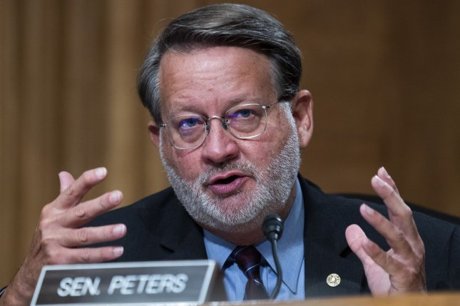 Sen. Gary Peters, D-Mich., speaks during a hearing of the Senate homeland security and governmental affairs committee on September 24, 2020, on Capitol Hill in Washington, D.C. File Photo by Tom Williams/UPI/Pool