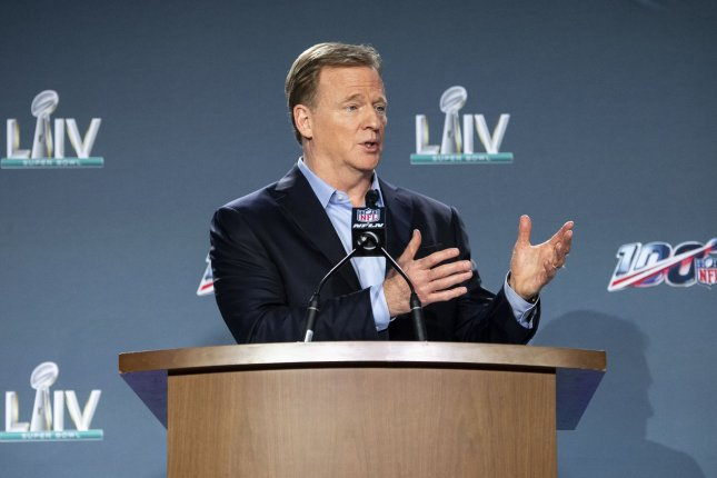 Also Tuesday, NFL Commissioner Roger Goodell said the league plans to allow stadiums to operate at full capacity in 2021. File Photo by Kevin Dietsch/UPI
