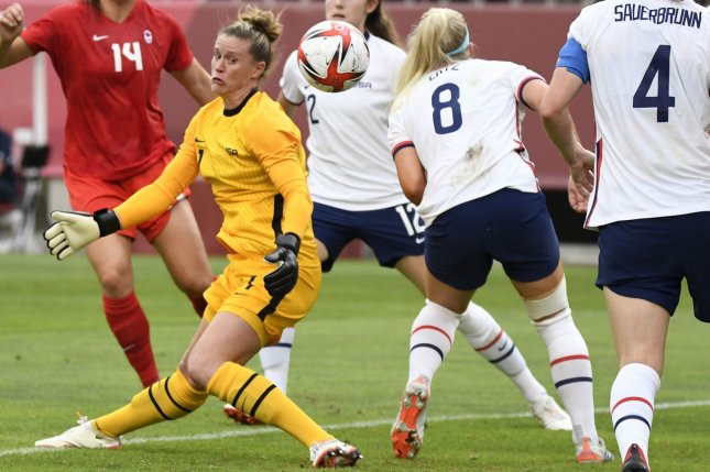 United States Women's National Team goalie Alyssa Naeher (L) injures her knee during a save against Canada in a soccer semifinal at the 2020 Summer Games on Monday in Kashima, Japan. Photo by Mike Theiler/UPI