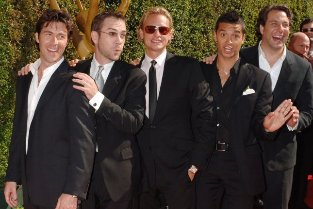 Cast members of Queer Eye for the Straight Guy (L-R) Kyan Douglas, Ted Allen, Carson Kressley, Jai Rodriguez and Thom Filicia arrive for the Creative Emmy Awards in September 11, 2005. Netflix is reviving the show with a new Fab 5. File Photo by Jim Ruymen
