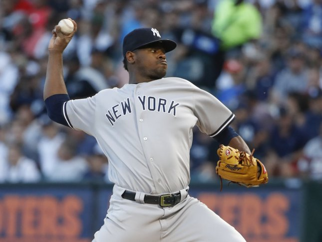 Luis Severino and the New York Yankees face the Detroit Tigers on Friday. Photo by Kamil Krzaczynski/UPI