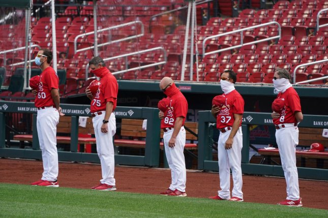 The St. Louis Cardinals haven't played since July 29 because of a coronavirus outbreak inside their clubhouse. File Photo by Bill Greenblatt/UPI