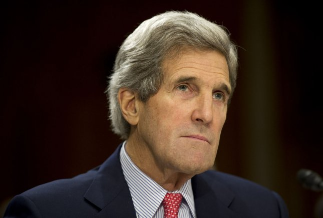 Secretary of State John Kerry said Friday the world is watching to see what the United States will do in response to the Syrian regime's use of chemical weapons. File photo. UPI/Kevin Dietsch