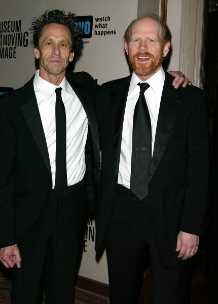 (left to right): Brian Grazer and Ron Howard arrive for the Museum of the Moving Image Salute to Ron Howard at the Waldorf Astoria Hotel in New York on December 4, 2005. (UPI Photo/Laura Cavanaugh)