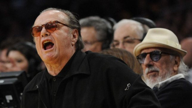 Jack Nicholson yells at a referee during ta Los Angeles Lakers game at Staples Center in Los Angeles. UPI /Lori Shepler