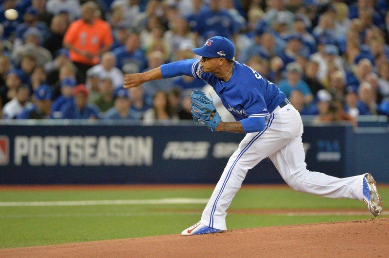 Toronto Blue Jays starting pitcher Marcus Stroman. Photo by Kevin Dietsch/UPI