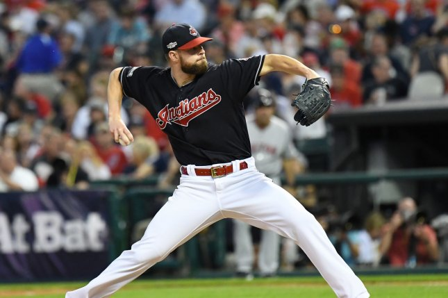 Cleveland Indians starting pitcher Corey Kluber pitches against the Boston Red Sox during of game 2 of the American League Division Series at Progressive Field in Cleveland, Ohio on October 7, 2016. The Indians defeated the Red Sox 6-0. Photo by Kyle Lanzer/ UPI