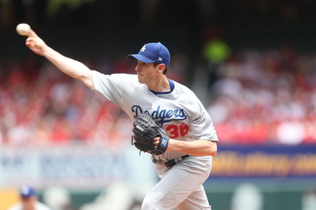 Los Angeles Dodgers starting pitcher Brandon McCarthy delivers a pitch. File photo by Bill Greenblatt/UPI
