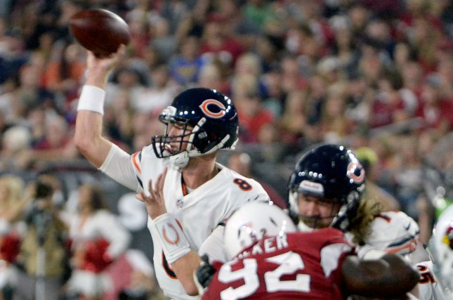 Chicago Bears' quarterback Mike Glennon throws a pass during the first quarter of the Bears-Arizona Cardinals game at the University of Phoenix Stadium in Glendale, Arizona, on August 19, 2017. Photo by Art Foxall/UPI