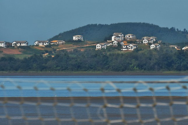 The village of Kaepung, North Korea is seen across the Imjin river and Han river confluence point in Paju, South Korea on September 13. File Photo by Keizo Mori/UPI