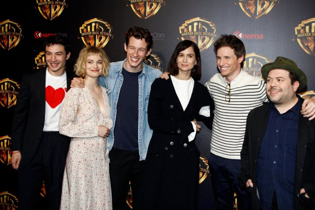 The cast of Fantastic Beasts: The Crimes of Grindelwald including (L-R) Ezra Miller, Alison Sudol, Callum Turner, Katherine Waterston, Eddie Redmayne and Dan Fogler. A trailer for the film has been released also featuring Johnny Depp. File Photo by James Atoa/UPI