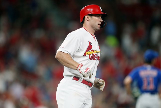 St. Louis Cardinals first baseman Paul Goldschmidt is hitting .258 with 25 home runs and 58 RBIs in his first season with the franchise. Photo by Bill Greenblatt/UPI