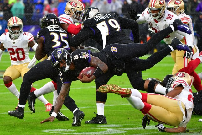 Baltimore Ravens quarterback Lamar Jackson (8) dives for a first down against San Francisco 49ers defenders on Sunday at M&T Bank Stadium in Baltimore, Md. Photo by David Tulis/UPI