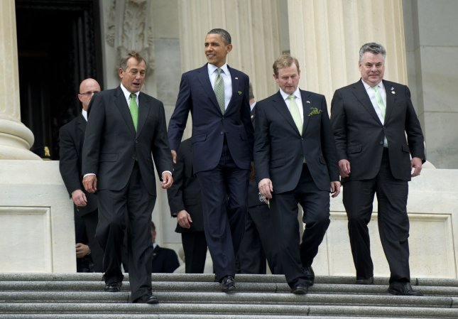 U.S. President Barack Obama (2nd-L), Irish Prime Minister Enda Kenny (2nd-R), Speaker of the House John Boehner (R-OH) (L) and Rep. Peter King (R-NY) leave a luncheon on Capitol Hill in Washington, D.C. on March 20, 2012. UPI/Kevin Dietsch