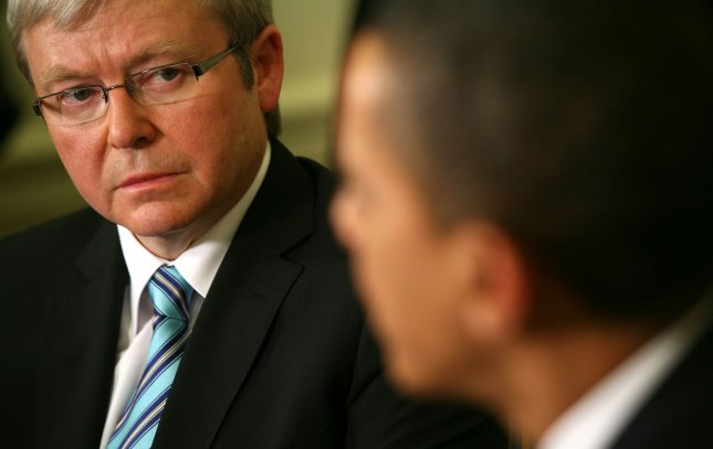 UPI file photo of U.S. President Barack Obama (R) meeting with then Prime Minister Kevin Rudd in the Oval office of the White House in Washington on March 24, 2009. (UPI PhotoGary Fabiano/Pool)