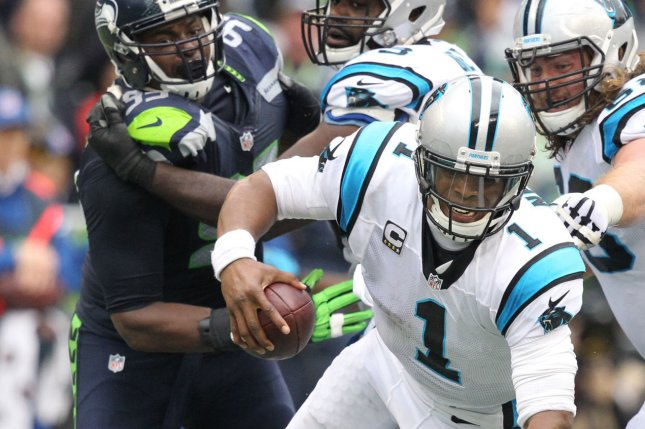 Seattle Seahawks linebacker Bruce Irvin (51) sacks Carolina Panthers quarterback Cam Newton (1) at CenturyLink Field in Seattle on October 18, 2015. The Panthers came from behind with 32 seconds remaining in the 4th Quarter to beat the Seahawks 27-23. Photo by Jim Bryant/UPI