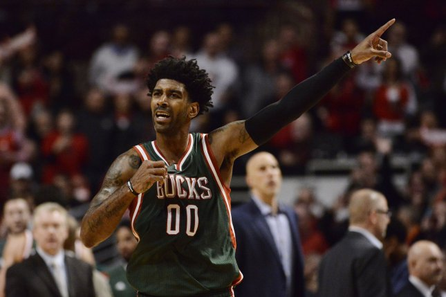 Former Milwaukee Bucks guard O.J. Mayo points during the fourth quarter of game 2 the first round of the NBA Playoffs against the Chicago Bulls at the United Center on April 20, 2015 in Chicago. The Bulls defeated the Bucks 91-82 and lead the best of seven series 2-0. Photo by Brian Kersey/UPI