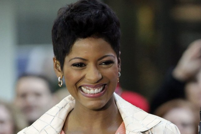 Tamron Hall stands on stage when Bastille performs on the NBC's Today on October 6, 2014. Hall has decided to exit NBC and MSNBC as her contract expires this month. File Photo by John Angelillo/UPI