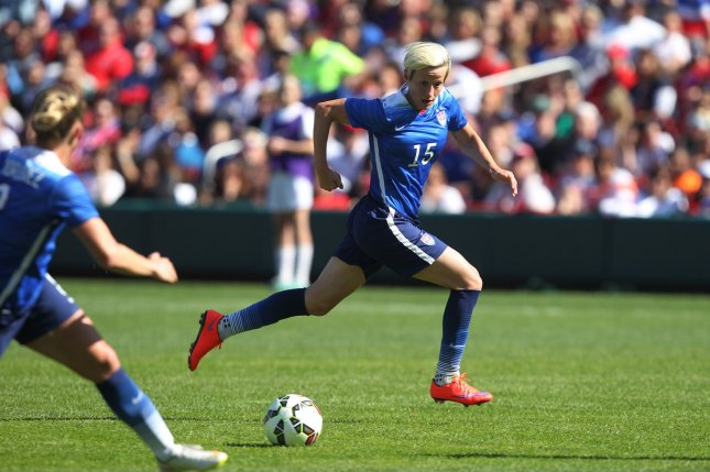 USA's Megan Rapinoe is among the 15 nominees for the first ever women's Ballon d'Or Award. File photo by Bill Greenblatt/UPI