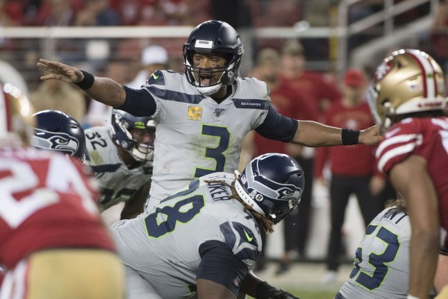 Seattle Seahawks quarterback Russell Wilson (3) completed 24 of 34 passes for 232 yards, one score and an interception in a win against the San Francisco 49ers Monday in Santa Clara, Calif. Photo by Terry Schmitt/UPI