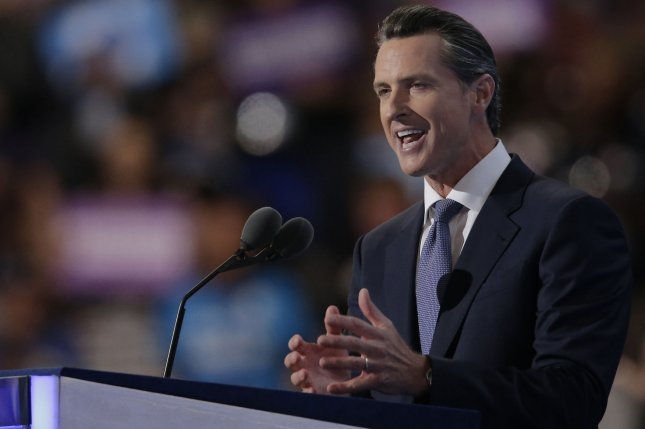 California Lieutenant Governor Gavin Newsom speaks on day three of the Democratic National Convention at Wells Fargo Center in Philadelphia, Pennsylvania on July 27, 2016. Hillary Clinton claims the Democratic Party's nomination for president. Photo by Ray Stubblebine/UPI