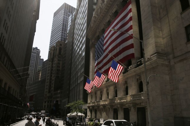 Flags hang outside the New York Stock Exchange in New York City on September 21. Eighty-nine percent of U.S. adults cited the economy as a very important issue in the 2020 presidential election. Photo by John Angelillo/UPI