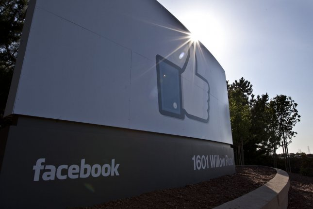 The Facebook sign is shown at its campus in Menlo Park, Calif. on May 18, 2012. Its oversight board overturned a decision to ban a tweet that criticized French President Emmanuel Macron. Photo by Terry Schmitt/EPA-EFE