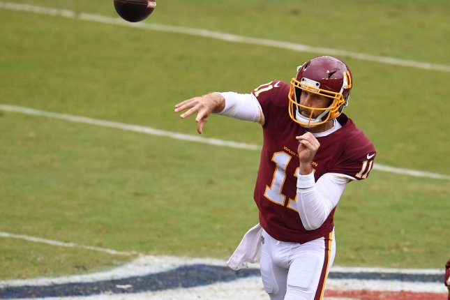 Washington Football Team quarterback Alex Smith was named 2020 NFL Comeback Player of the Year after posting a 5-1 record this past season. File Photo by Kevin Dietsch/UPI